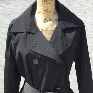 Fog double breasted black trench coat size L